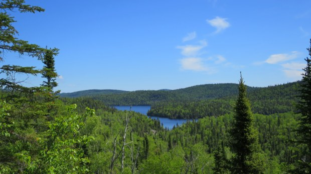 Lookout over Whitesand Lake, Rainbow Falls Trail, Rainbow Falls Provincial Park, Ontario, Canada