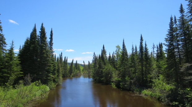 Crossing a tributary of Nipigon River, Nipigon River Trail, Ontario