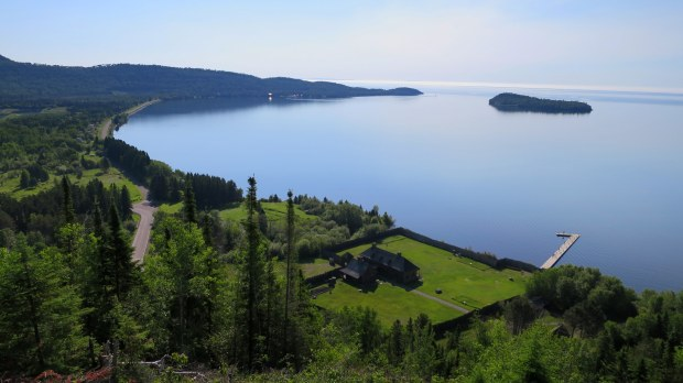 Looking down at the fort, Mount Rose Trail, Grand Portage National Monument, Minnesota