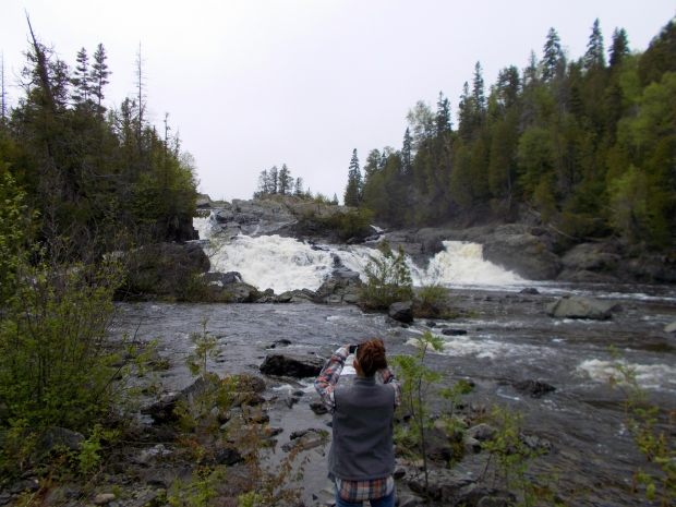 Me taking pictures at Upper Silver Falls, Magpie River, Ontario, Canada