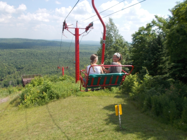 Teri and I riding the lift back down, Copper Peak Ski Flying Hill, Michigan