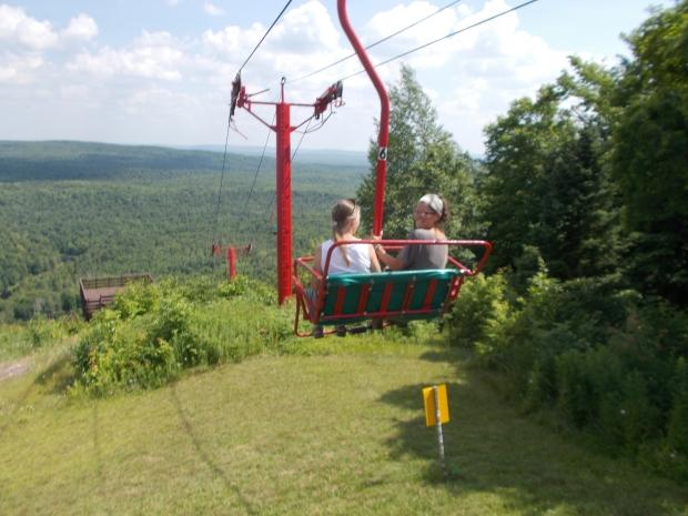 Teri and I riding the lift back down, Copper Peak Ski Flying Hill, Michigan