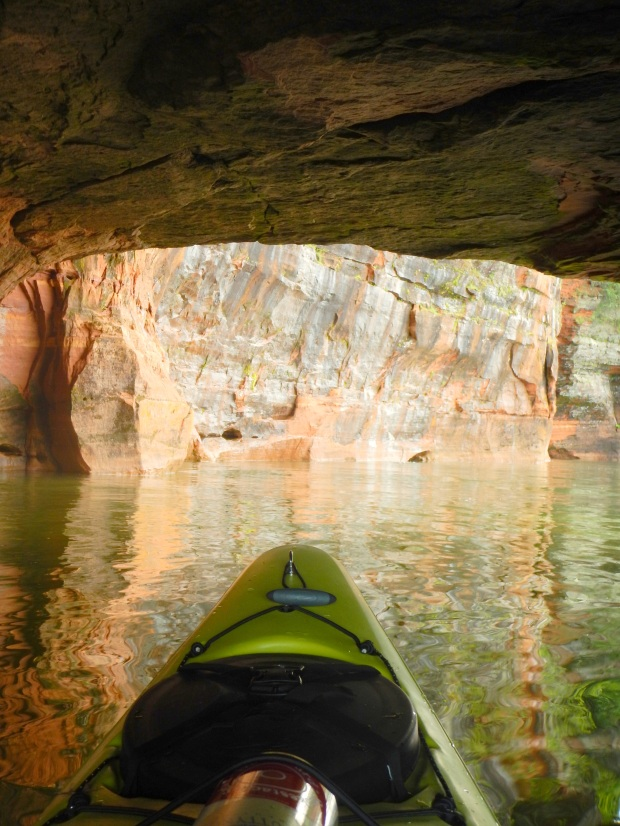 Ducking under an arch, Apostle Islands National Lakeshore, Wisconsin