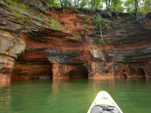Checking out an alcove, Apostle Islands National Lakeshore, Wisconsin
