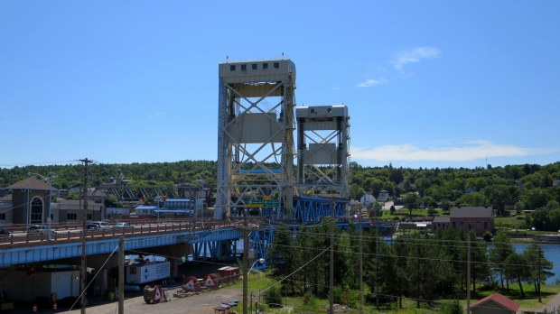 Aerial lift bridge over Keweenaw Canal, from Hancock, Michigan