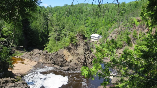 Best shot I could get looking down the gorge with powerhouse below, Saxon Falls Hydro Plant, Michigan