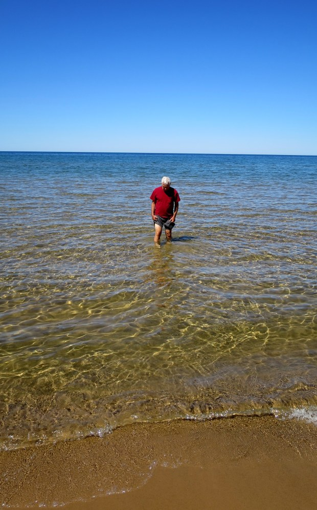 Tom testing the waters at a Lake Superior Beach off Route 28, Michigan