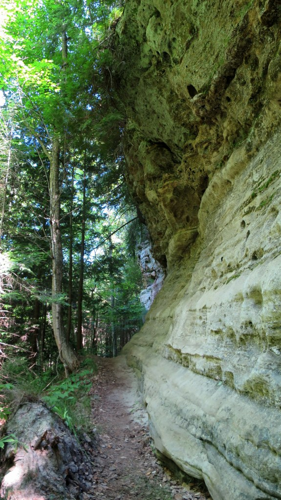 Eroding sandstone on trail, Memorial Falls, Munising, Michigan