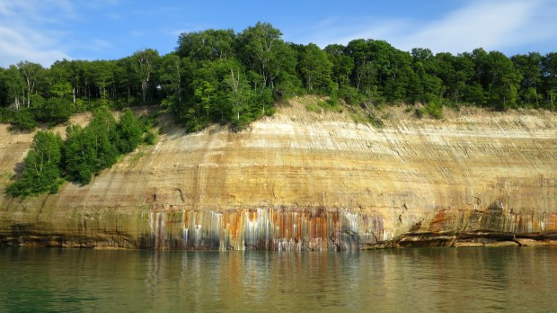 Mineral stains on cliffs, Pictured Rocks National Lakeshore, Michigan