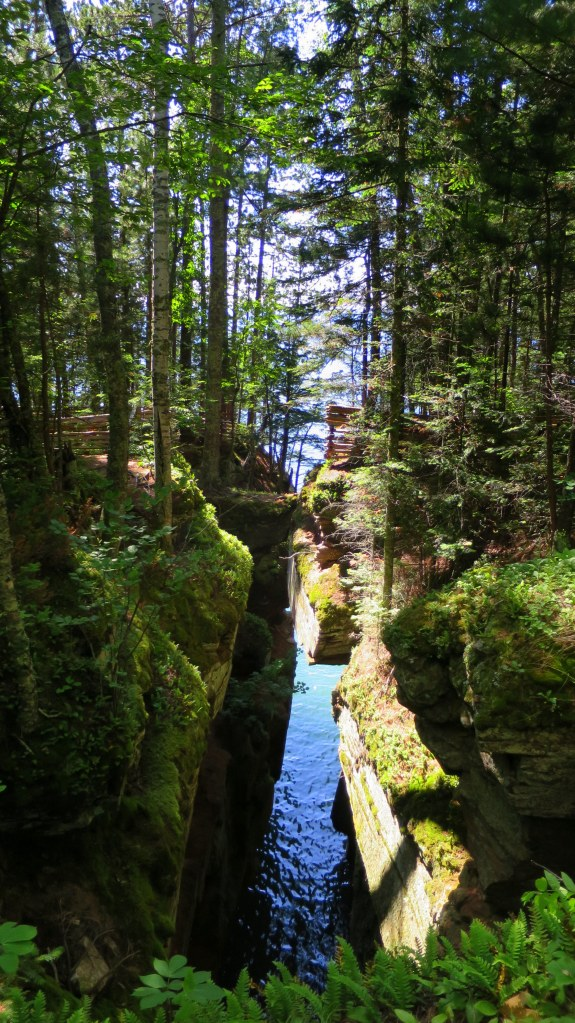 Natural bridge and ravine on the Lakeshore Trail, Apostle Islands National Lakeshore, Wisconsin