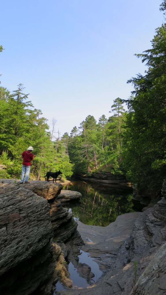 Tom taking photos, West River Trail, Porcupine Mountains Wilderness State Park, Michigan