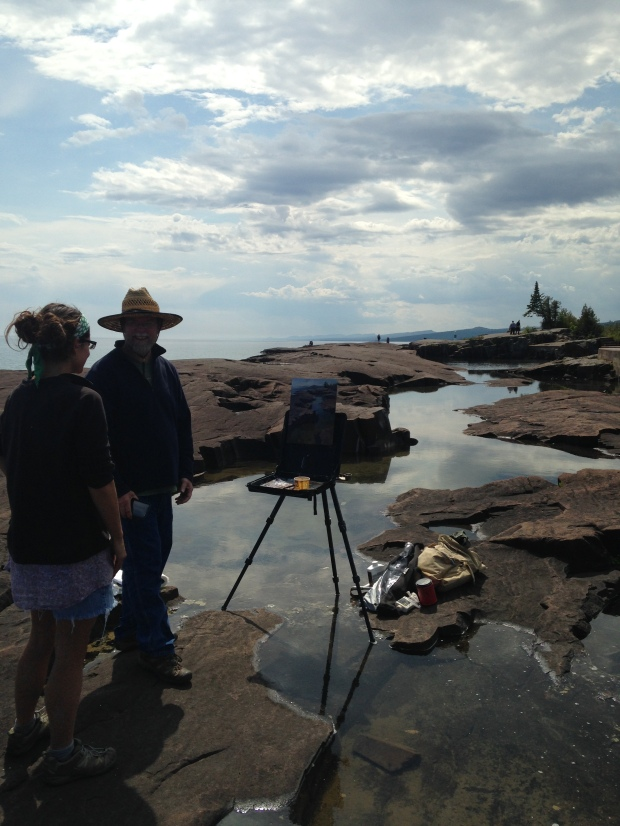 Talking to the artist at Artists' Point, Grand Marais, Minnesota
