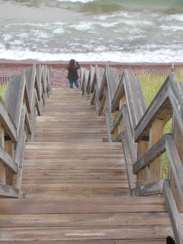 Me taking pictures on the beach, Keweenaw Peninsula, Michigan