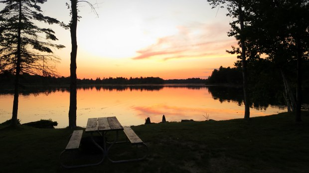 Sunset from camp, near Alpena, Michigan