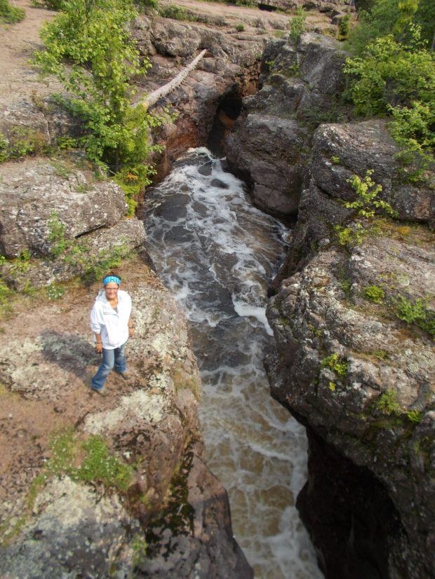 Tom's picture of me from the bridge, Temperance River Gorge Trail, Temperance River State Park, Minnesota