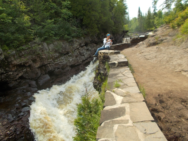 Tom's photo of me taking selfies with the dog, Temperance River Gorge Trail, Temperance River State Park, Minnesota
