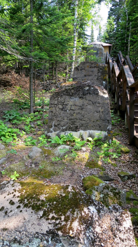 Foundations of tramway from 1916 with cable house at top, Split Rock Lighthouse State Park, Minnesota