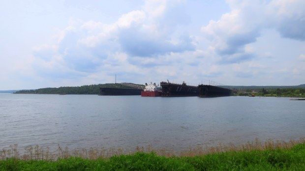 Iron ore ships being loaded, Two Harbors, Minnesota