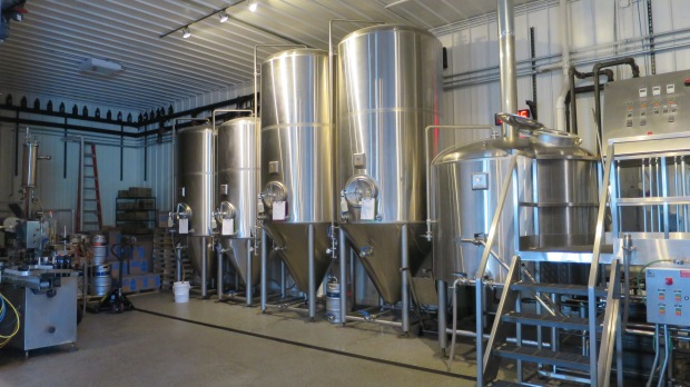Fermenting tanks at Voyageur Brewing Company, Grand Marais, Minnesota