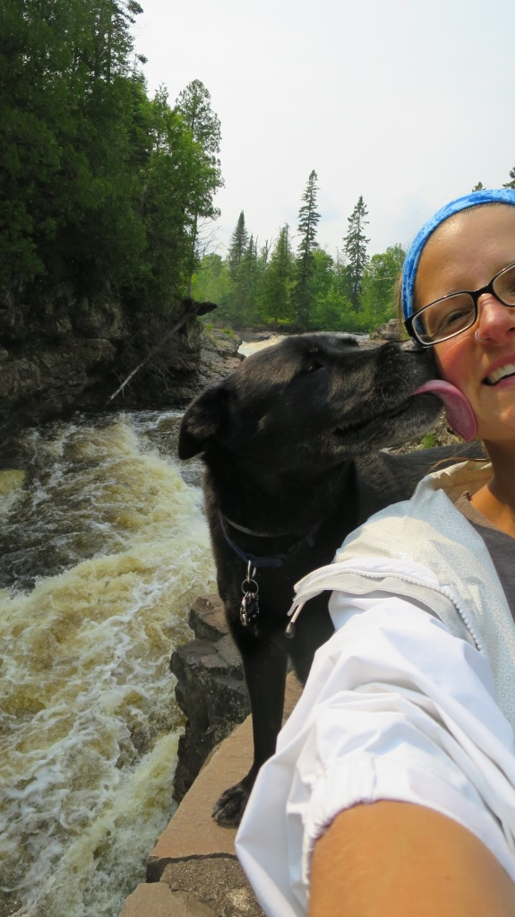 First attempt at the selfie with the dog: Abbs gives me some tongue, Temperance River Gorge Trail, Temperance River State Park, Minnesota