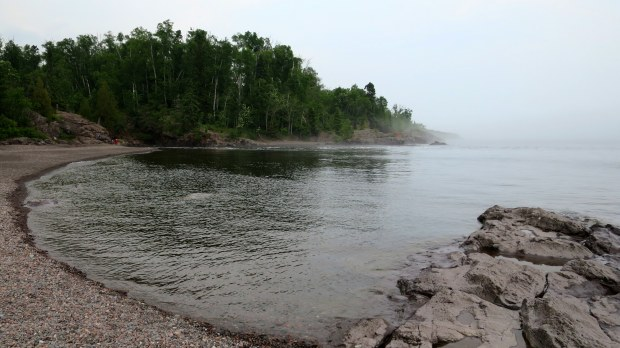 Fog on Lake Superior near mouth of the river, Temperance River State Park, Minnesota