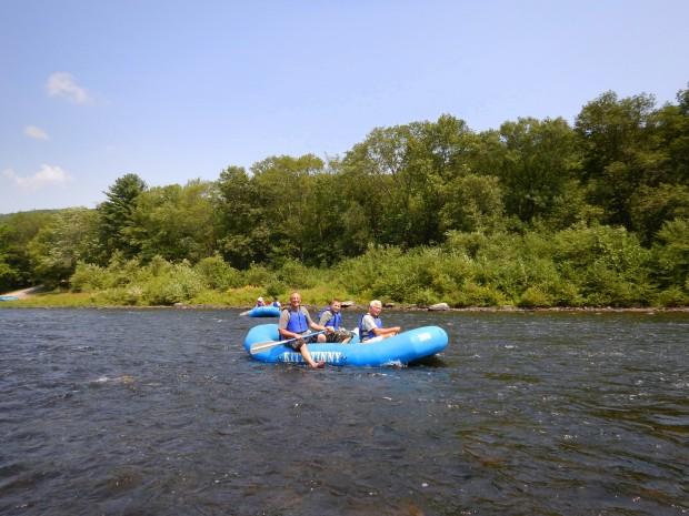 The boy's boat: Kurt, Gabe, and Tom, Delaware River, Pennsylvania/New York