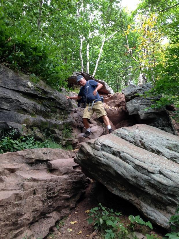 Tom descending North Mountain Trail, Catskills, New York
