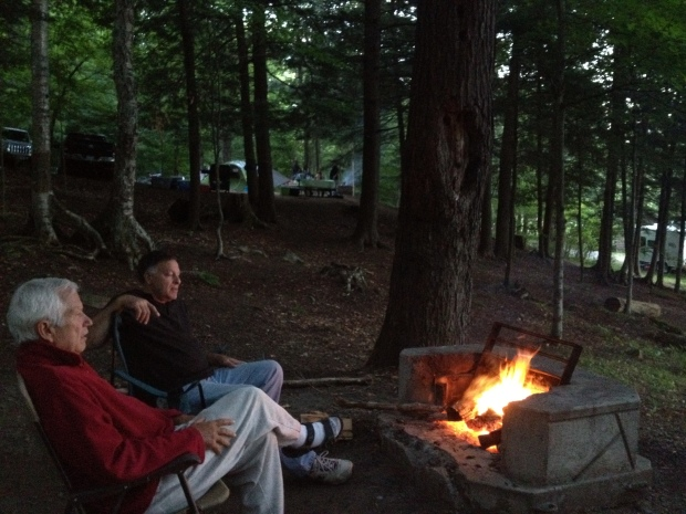 My two favorite guys sitting around the campfire, Moffitt Beach, New York
