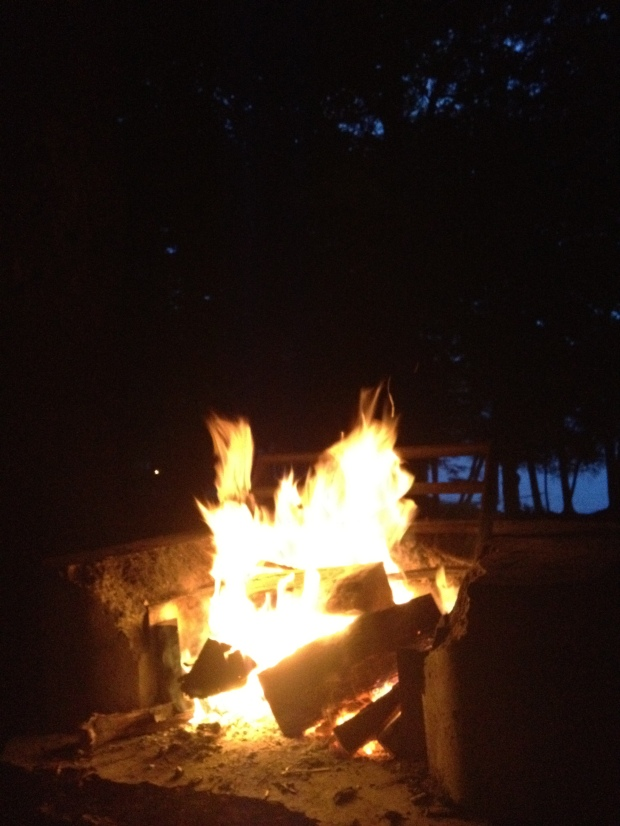 Love a good campfire, Sacandaga Lake, Moffitt Beach, New York