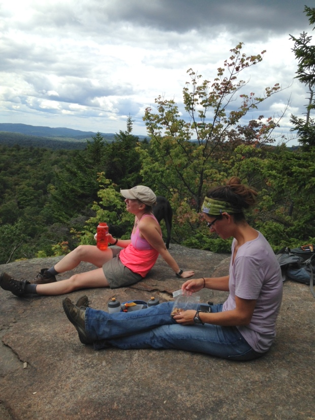 Snacking at the top of the Good Luck Lake Trail, Adirondacks, New York