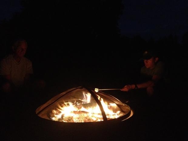 Jon roasting marshmallows, New York