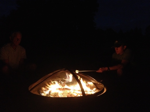 Jon roasting marshmallows, New York