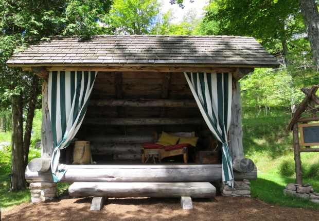 Replica of traditional Adirondack lean-to, Adirondack Museum, Blue Mountain Lake, New York