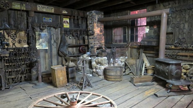 Reconstructed blacksmith shop from Beaver Falls 1875 – 1952, Adirondack Museum, Blue Mountain Lake, New York
