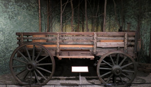 Lumber freight wagon used for hauling supplies to camps, ca. 1890, Adirondack Museum, Blue Mountain Lake, New York