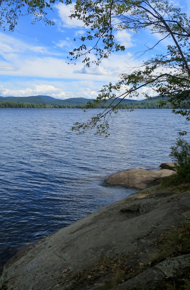View of Sacandaga Lake from below campsite on Moffitt Beach, New York