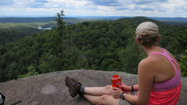 Rachel enjoying the view, Good Luck Lake Trail, Adirondacks, New York