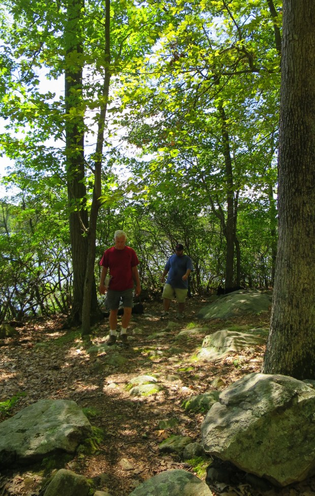 Tom and Nick hiking around Lake Askoti, Harriman State Park, New York