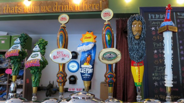 Awesome taps at the awesome Blue Point Brewery, Long Island, New York