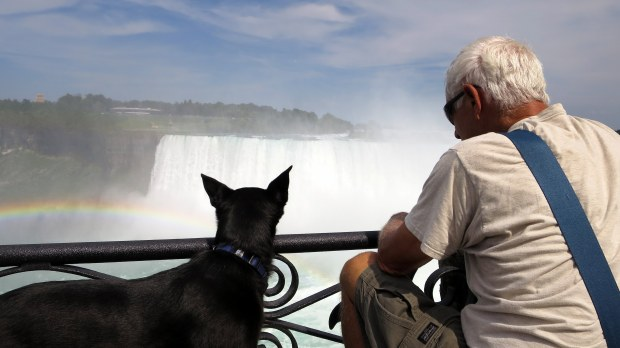 Tom and Abby checking out the falls, Niagara Falls, Ontario, Canada