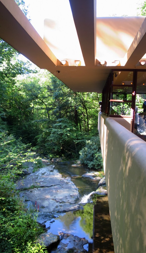 Looking down Bear Run from terrace above waterfall, Fallingwater, Mill Run, Pennsylvania