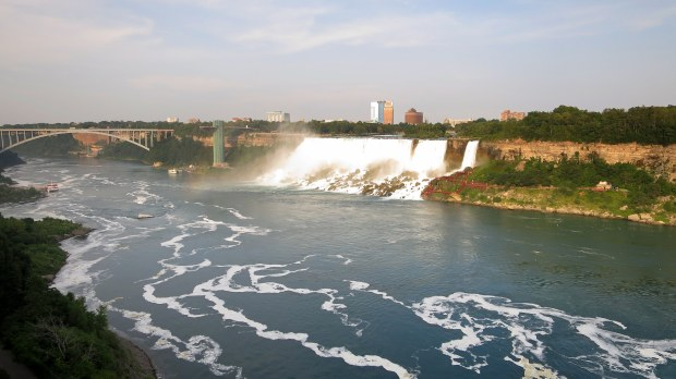 Looking across at the American Falls and New York, from Ontario, Canada