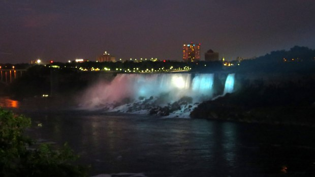 Light show at the American Falls seen from Niagara Falls, Ontario, Canada