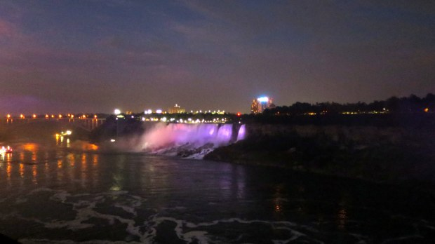 Lights at the American Falls seen from Niagara Falls, Ontario, Canada