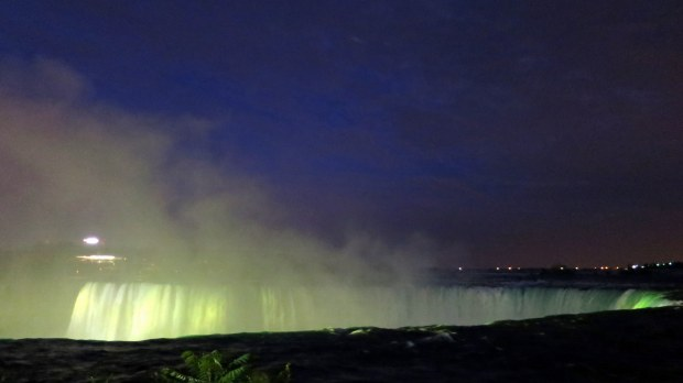 Yellow lights above Horseshoe Falls, Niagara Falls, Ontario, Canada