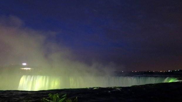 Yellow lights above Horseshoe Falls, Niagara Falls, Ontario, Canada