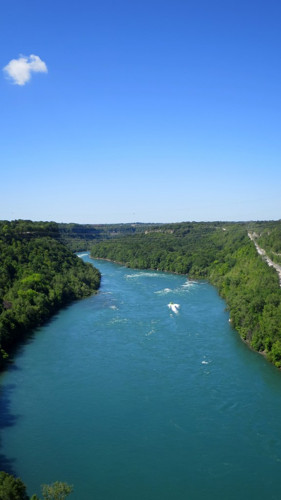 View up the Niagara River from the Robert Moses Niagara Power Plant, New York