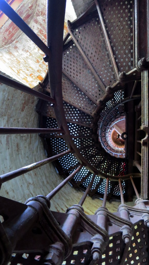 Another view of the ornate cast iron tower stairs, Thirty Mile Point Lighthouse, Golden Hill State Park, New York