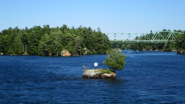 Legitimately an island: one tree, 3 feet in diameter, one other plant, and always above the water. Thousand Islands Region, New York and Ontario