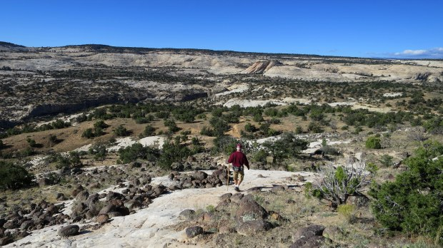 Tom crossing slickrock, Upper Calf Creek Falls Trail, Grand Staircase-Escalante National Monument, Utah